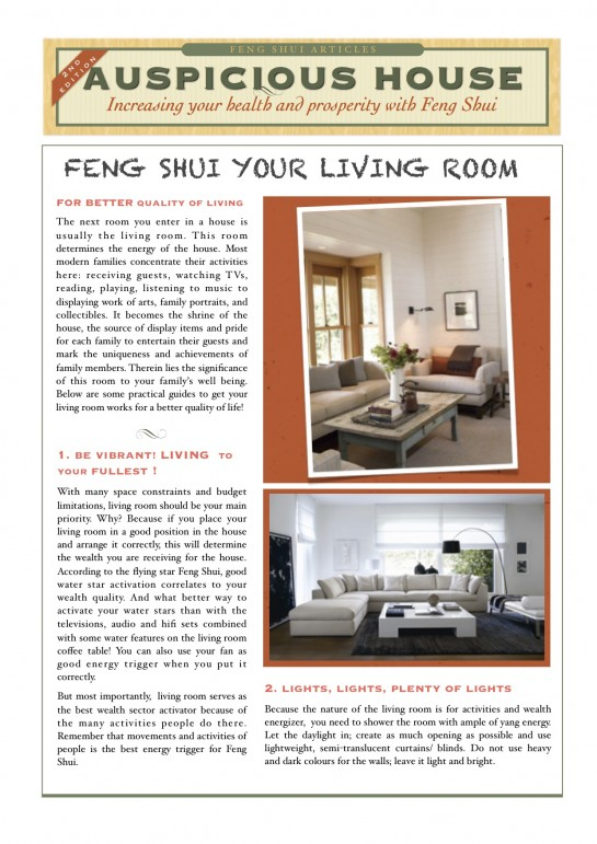Tips Interior Feng Shui: Living room part 1